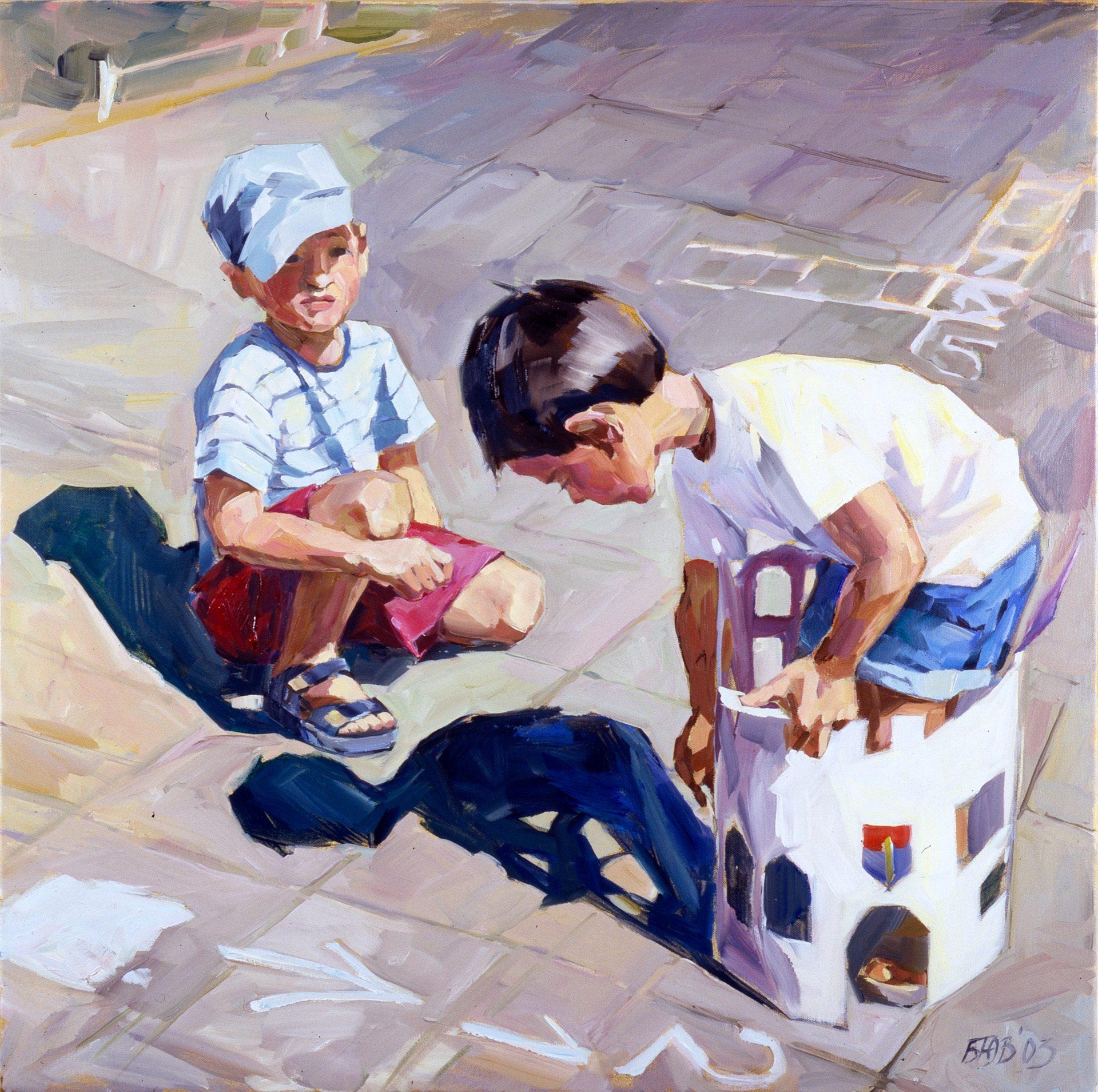 Gemälde von Julia Belot: Papierburg, Öl auf Leinwand, 80 cm x 80 cm, 2003