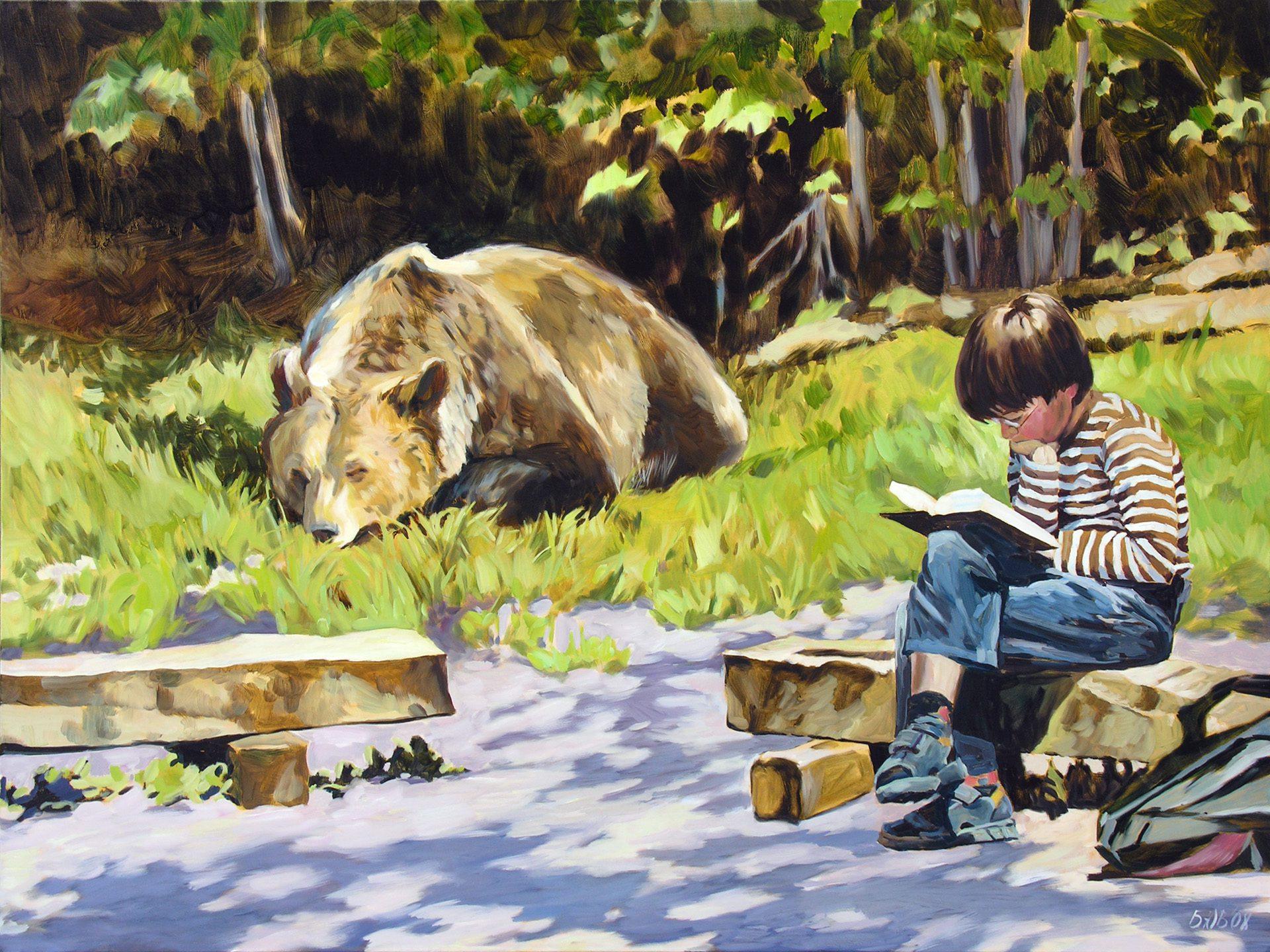 Gemälde von Julia Belot: Spannendes Buch, Öl auf Leinwand, 120 cm x 160 cm, 2008