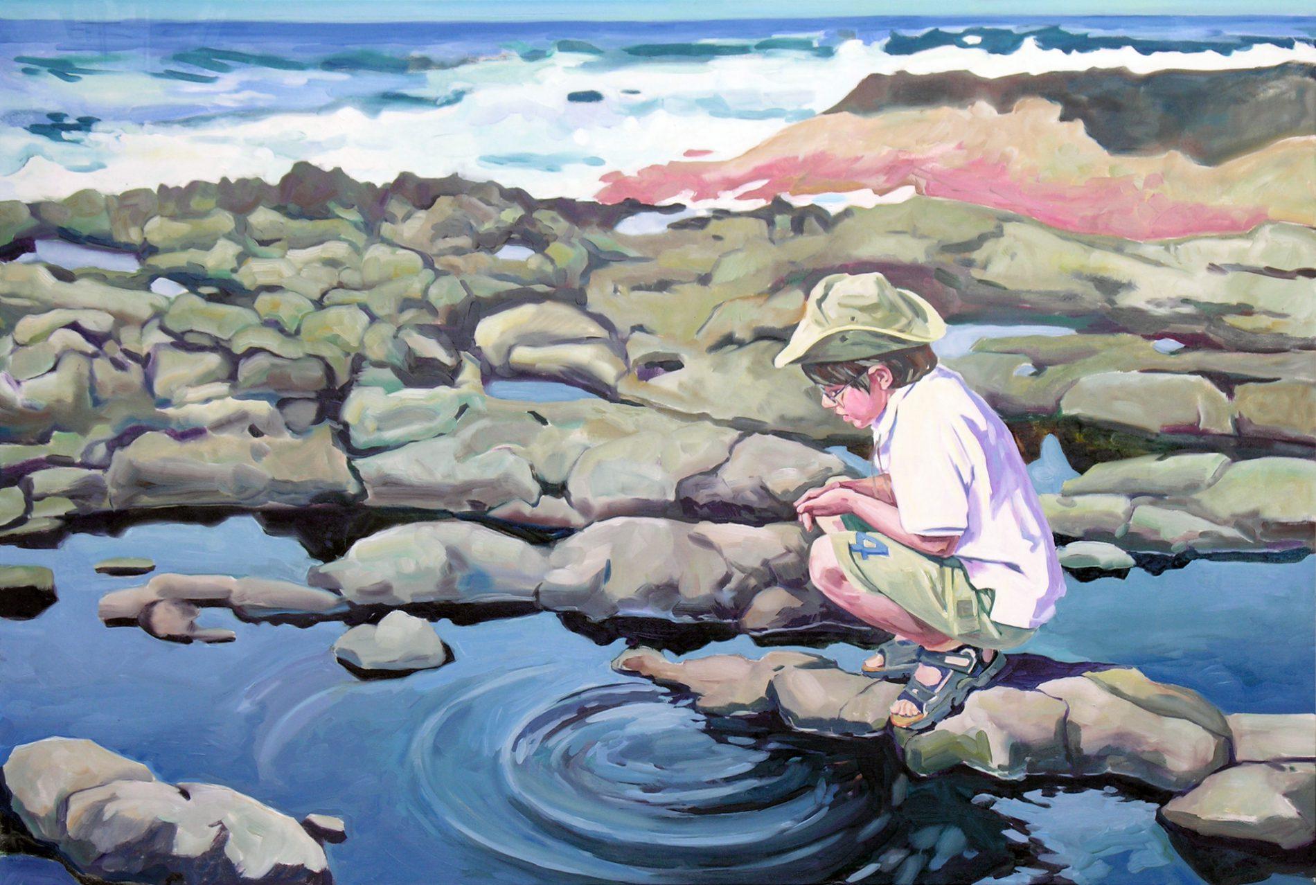 Gemälde von Julia Belot: Wasserringe, Öl auf Leinwand, 120 cm x 180 cm, 2007, La Palma, Kanarische Inseln
