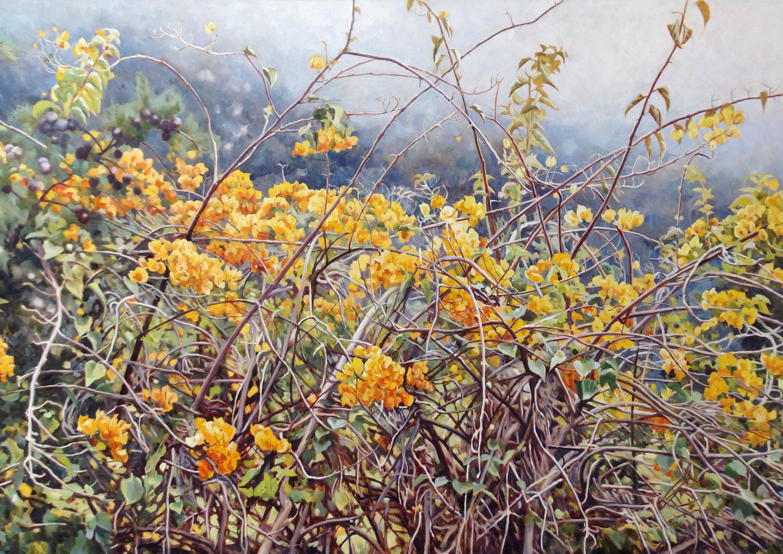 Gemälde von Julia Belot: Bougainvillea im Nebel, Öl auf Leinwand, 120 cm x 220 cm, 2018, Madeira