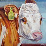 Gemälde von Julia Belot: Tierportrait, Kalb 28862 (2), Öl auf Leinwand, 40 cm x 40 cm, 2018