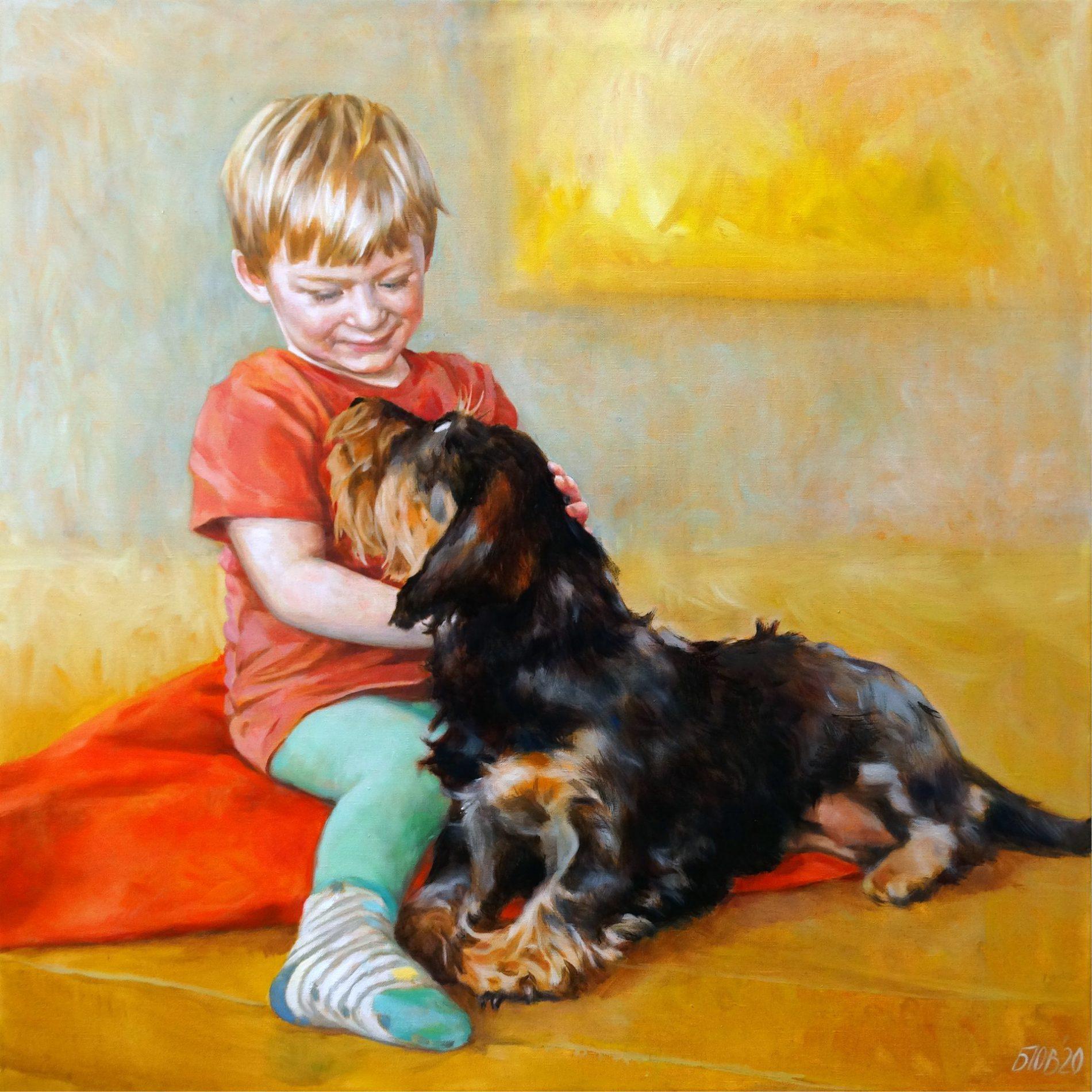 Gemälde von Julia Belot: Portrait, Hannes und Amelie, Öl auf Leinwand, 80 cm x 80 cm, 2020