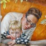 Gemälde von Julia Belot: Portrait, Im Gartenhäuschen, Öl auf Leinwand, 60 cm x 80 cm, 2020