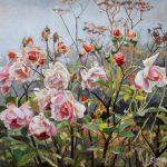 Gemälde von Julia Belot: Herbstrosen, Öl auf Leinwand, 50 cm x 50 cm, 2019