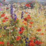 Gemälde von Julia Belot: Mohnwiese (2), Öl auf Leinwand, 110 cm x 270 cm, 2019