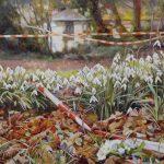 Gemälde von Julia Belot: Tatort, Öl auf Leinwand, 80 cm x 100 cm, 2018