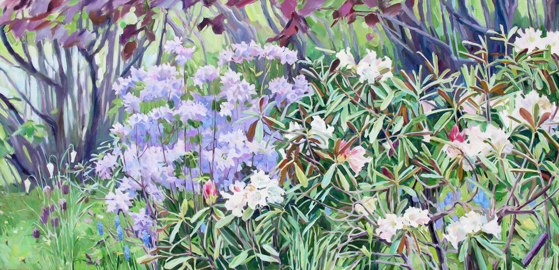 Gemälde von Julia Belot: Odiles Garten, Öl auf Leinwand, 100 cm x 200 cm, 2006