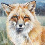 Gemälde, Tierportrait von Julia Belot: Fuchsporträt (1), Öl auf Leinwand, 40 cm x 40 cm, 2020