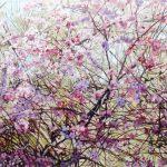 Gemälde von Julia Belot: Mandelblüte, Öl auf Leinwand, 90 cm x 270 cm, 2018