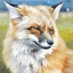 Gemälde, Tierportrait von Julia Belot: Fuchsporträt (2), Öl auf Leinwand, 40 cm x 40 cm, 2020