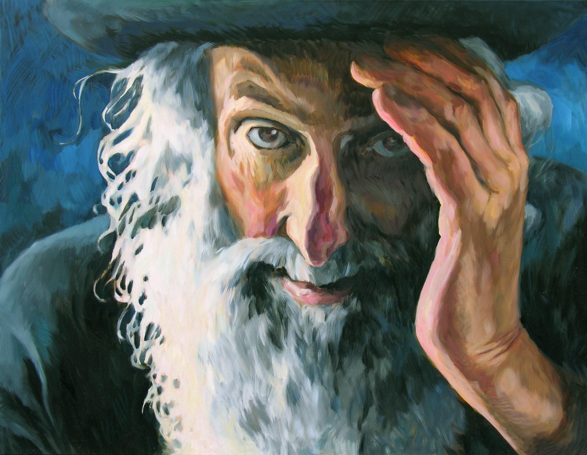 Gemälde von Julia Belot: Alter Mann, Öl auf Leinwand, 100 cm x 130 cm, 2010