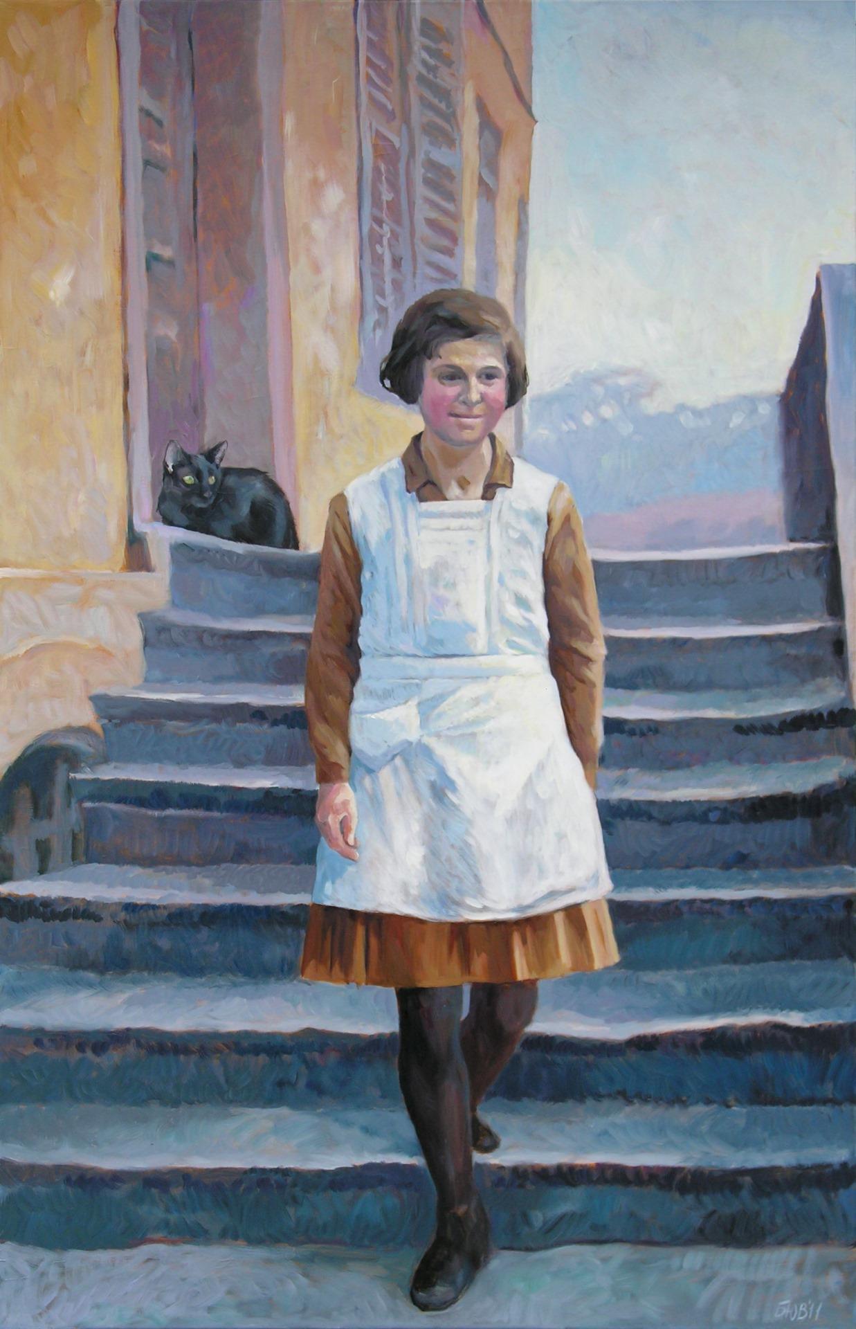 Gemälde von Julia Belot: Liesel auf der Treppe, Öl auf Leinwand, 160 cm x 100 cm, 2011