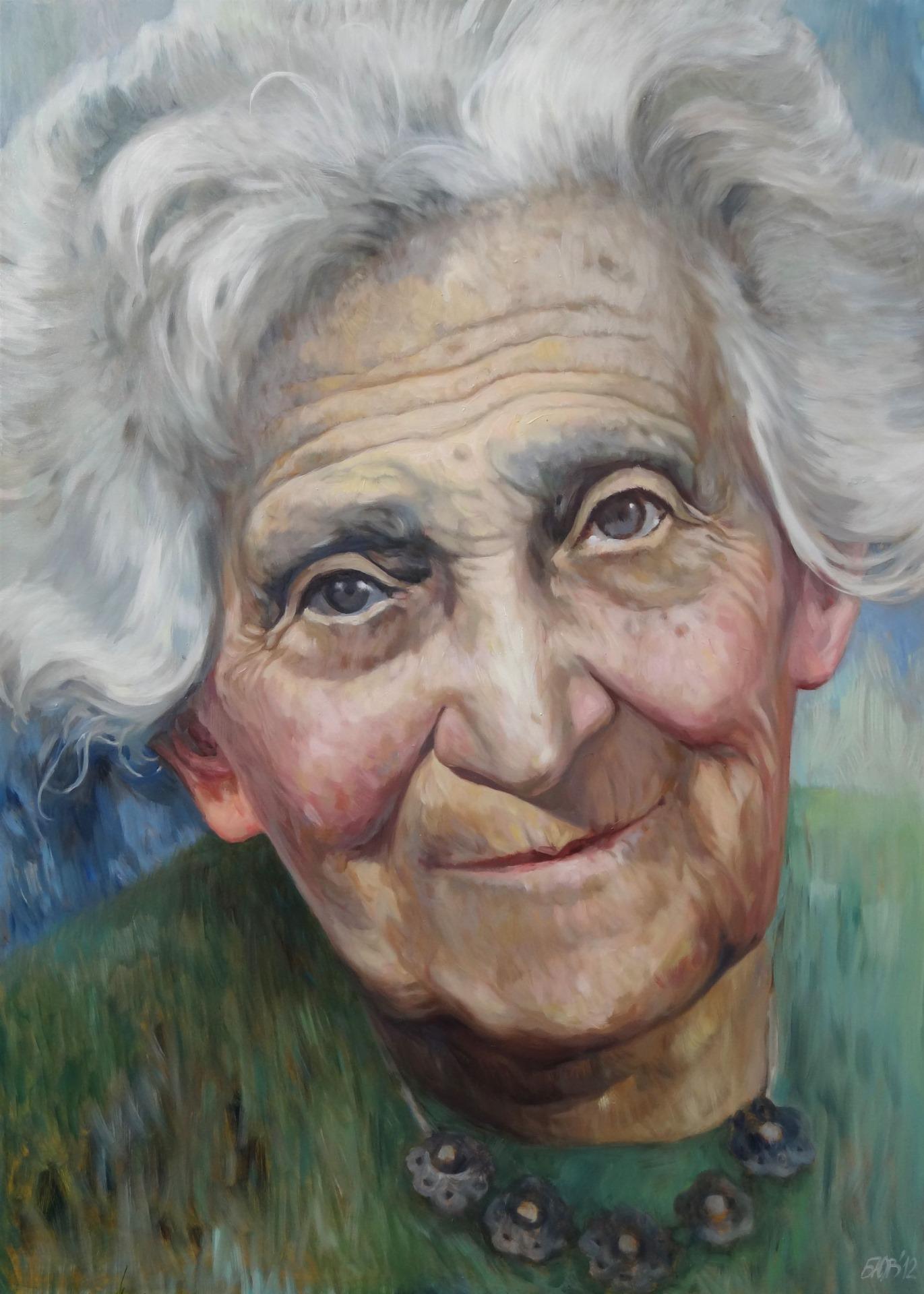 Gemälde von Julia Belot: Rahel Straus, Öl auf Leinwand, 140 cm x 100 cm, 2012