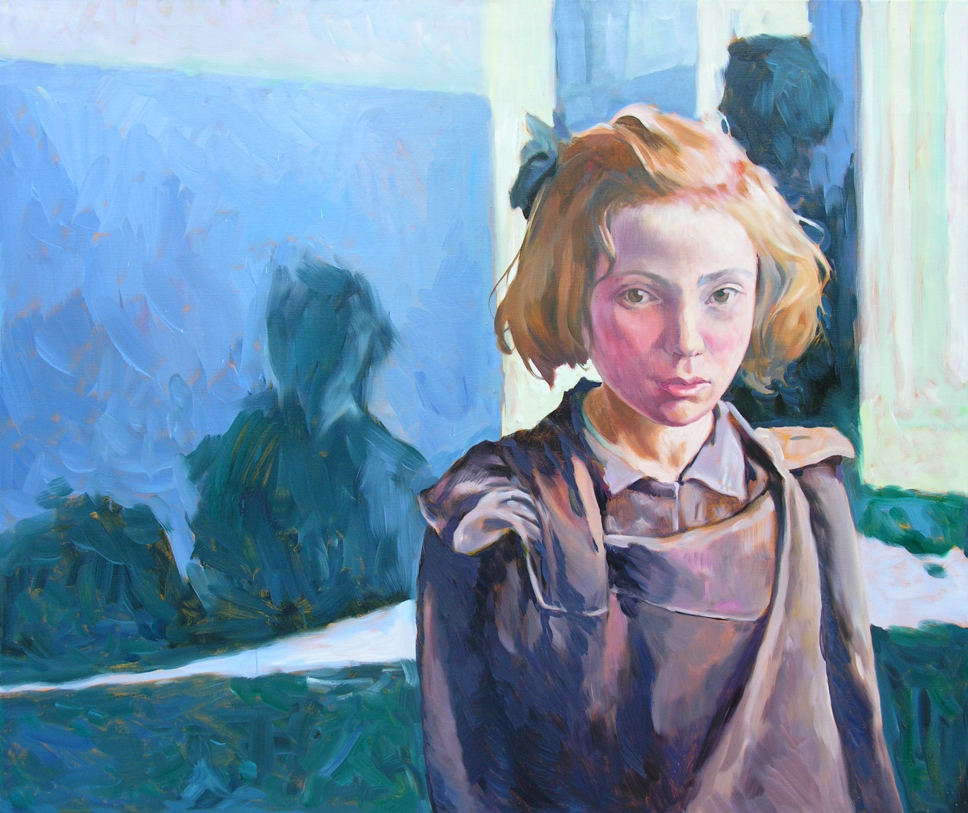 Gemälde von Julia Belot: Schulmädchen, Öl auf Leinwand, 100 cm x 120 cm, 2010